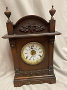 Antique English Fattorini And Sons Bradford Time And Alarm Mantel Clock 8-day