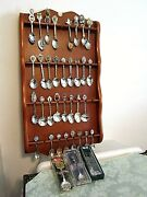 Lot Of 36 Misc. Souvenir Spoons, Silverplate, Pewter And Misc. Metals And Rack