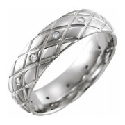 6mm 14k White Gold And Diamond Patterned Comfort Fit Band