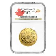 1 Oz 2004 Canadian Maple Leaf 25th Anniversary Ms-69 Gold Coin