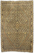 5x7 Vintage Semi Antique Brown Tribal Oriental Wool Rug Farmhouse Carpet 4and0399x7and0394