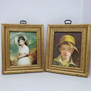 Vintage Pair Of Framed Prints Franklin Framed Picture Girl And Boy In Straw Hats