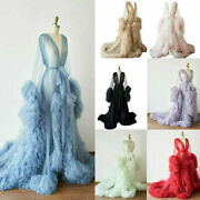 Sexy Tulle Maternity Robe Puffy Dress Pregnant Women Ruffle Photoshoot Gown
