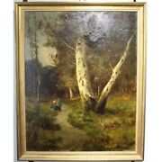 Antique 19th England Original Forest Trail Oil Canvas Painting Signed R. Scott