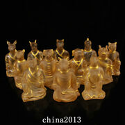 7.3 Old Antique Dynasty Palace Temple 1 Set Crystal Gilt Chinese Zodiac Statue