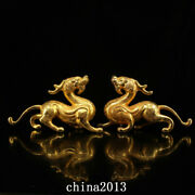 China Antique Dynasty Palace Temple A Pair Bronze 24k Gilt Exorcise Beast Statue