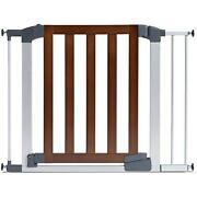Modern Baby Gate Auto Close Swinging Door Stair Way Safety Wood Steel Frame New