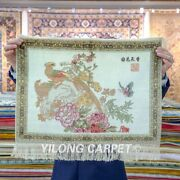 Yilong 1.5and039x2and039 Peony Handmade Silk Rug Indoor Tapestry 500line Small Carpet 098h