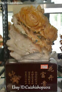 15 Unique China Natural Jade Carving Auspicious Peony Flower Flowers Statues