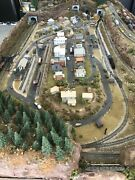 """N-gauge Two-tier, 3 Tracks For Trains, 96"""" X 48"""" Layout Tunnel, City, See Detail"""