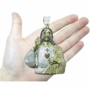 14k Yellow Gold Over Sterling Silver Greet Jesus Multi-color Dia Pendant Unisex