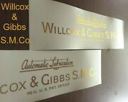 Restoration Decals For Willcox And Gibbs Sewing Machine - Automatic Lubrication