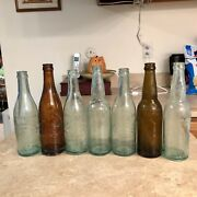 Nice Collection Of 7 Antique Embossed Pre Prohibition Baltimore Md Beer Bottles