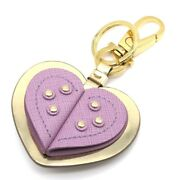 Salvatore Ferragamo Key Ring Charm Heart Leather Purple For Woman Made In Italy