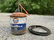 Rare Vintage Gulf Motor Oil Multipurpose Grease Tin Can Gas Service Station