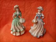 Andrea Japan Pair Victorian Lady's In Hat's Figurines Hand Crafted
