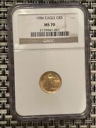 1986 5 American Gold Eagle 1/10 Oz. Ngc Ms70 Brown Label Beauty