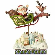 Rare Jim Shore Rudolph The Red Nosed Reindeer Sleigh Over Village 6001593