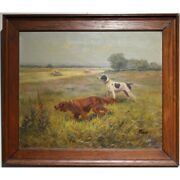 Vintage 20th France Original Hunting Dogs Oil Canvas Painting Signed C.perot