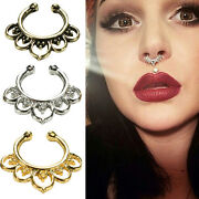 Fad Fake Septum Nose Rings Faux Piercing Nose Hoop Nose Studs Body Jewelry Sq