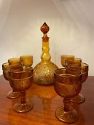 Vintage Mcm Indiana Amber Glass 10pc Set Amber Decanter 8 Cordial Wine Glasses