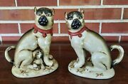 2 Vintage Hand Painted Ceramic Asian Boxer Dog Statues Figurines 7 Inches