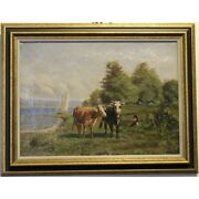 Antique 19th Swiss Rare Original Cows Lake Oil Canvas Painting Signed