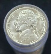 1942-p Jefferson Silver Wartime Nickel Bu Roll 40 Coins Total Ms Unc