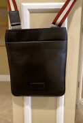 Nwt Bally Large Brown 100 Leather Messenger Bag With Adjustable Strap Msrp 900