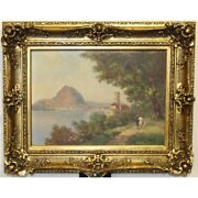 Vintage 20th Swiss Original View Of Ticino Oil Canvas Painting Signed G. Djakeli