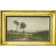 Antique Swiss 1881 Original Chexbres Oil Canvas Painting Signed Charles Jones