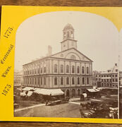 Faneuil Hall, Boston, Mass T. Lewis Stereoview Quincy Market Wagons Centennial