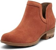 Sorel - Women's Lolla Cut Out Bootie, Leather Or Suede Ankle Boot With Stacked H