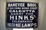Antique Hinks English Made Lamps Sign Board Porcelain Falkirk Iron Co England
