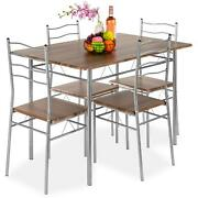 5 Piece Dining Set Wooden Kitchen Table Metal Legs With 4 Chairs Home Furniture