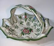 Vintage Rccl Portugal Footed Hand Painted Floral Basket Twisted Handle 11 X 7
