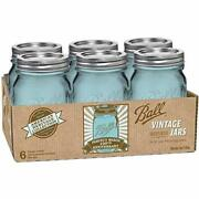 Jar Heritage Collection Pint Jars With Lids And Bands, Blue, Set Of 6