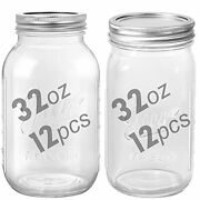 12 Pcs Mason Jars 32 Oz Large Canning Jars With Lids And Bands Colored