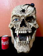22andrdquo Large Vampire Skull Bullet To Head Scorpion Solid Faux Bone Signed Retired