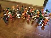 50 Vintage Cowboys And Indians Painted Plastic Toy Children Figures Hong Kong