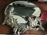 Beautiful Antique Brass Dragon And Slayer Mirror