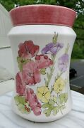 Ernestine Salerno Italy 871 Large Floral Canister Mid Century Pottery Rare