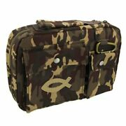 Cotton Twill Camouflage Bible / Book Cover W/fish Patch By Christian Art Gifts