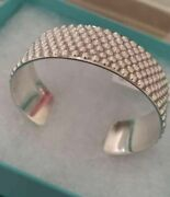 And Co. Sterling Silver Wide Caviar Studded Band Bangle Cuff Bracelet