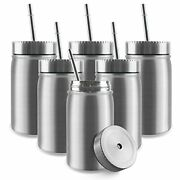 17oz Stainless Steel Mason Jar,double Wall Vacuum Tumbler With 6 Pack Silver