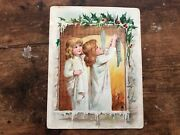 Vintage Victorian Trade Card Lion Coffee Young Girls Hanging Christmas Stockings