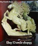 22 Real Natural Green Jade Hand Carving Fengshui Running Horse Animal Statue