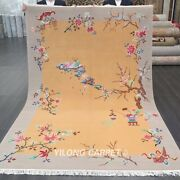 Yilong 6and039x9and039 Handwoven Chinese Art Deco Wool Rug Yellow Home Indoor Carpets
