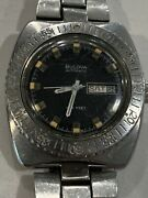 Vintage Bulova Automatic 666 Divers Watch Day/date Fits A Max 7 Inch Wrist