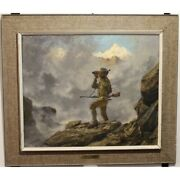 Vintage 20th Swiss Rare Original Hunter Oil Canvas Painting Signed R.guatelli